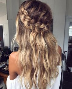 Half Up Crown Braid For Long Hair #diyhairstyles2017