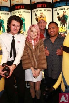 Despicable Me 2 at Hoyts Sylvia Park, L to R, Benny Tipene, Ruby Frost, Dominic Bowden and Whenua Patuwai, June 25th 2013. Despicable Me 2, Frost, Love Her, June, Events, Park, Happenings, Parks