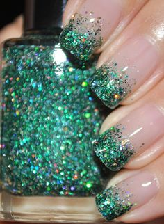 On A Budget Green and Gold Glitter Nail Polish by TheHungryAsian