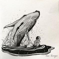 Space Beneath Us - Whale Art Print by Ravi Koranga - X-Small Tattoo Design Drawings, Art Drawings, Tattoo Designs, Arte Inspo, Site Logo, Whale Tattoos, Whale Art, Sketch Inspiration, Pen Art