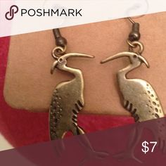 Crane earrings burnished gold NWT Unique burnished brass gold crane earrings. Measures approx 1 1/4 inches long. Brand new on original display tag. Lucky You Jewelry Earrings