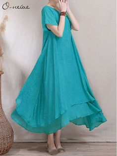 Loose Women Ethnic Style Fake Two-piece High Low Maxi Dress