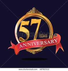 57 years anniversary golden logo with ring and soft red ribbon. anniversary logo for birthday, celebration, wedding, party