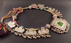 Rajasthan old silver embossed pendant, indian jewelry, necklace from India…