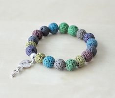 Natural Lava Bracelet, Colored Lava, One Size, Natural Mineral, Stone Jewelry, Heart and Key Charm