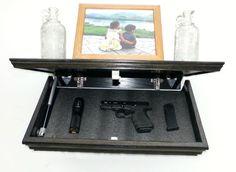 "23"" Oak Wall Shelf With Drop Down Hidden  Secret Compartment For Hand Guns,Jewelry,Valuables,Etc.."