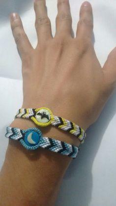 Moon and Bat bracelets, polymer clay + macrame. By Luis Ortiz