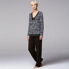 Women's Simply Vera Vera Wang Pajamas: Midnight Senses PJ Set, Size: Small, Grey (Charcoal)