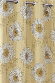 NEXT-SUNFLOWER-EYELET-CURTAINS-POMPOM-TRIM-BNIP-100-COTTON-STD-WIDTH-135X183CM Dining Room, Curtains, Mood, Yellow, Grey, Cotton, House, Gray, Blinds