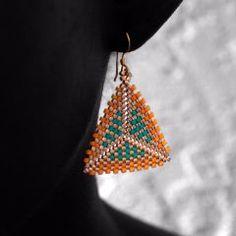 Geometric Earrings: Yellow, Turquoise & Gold