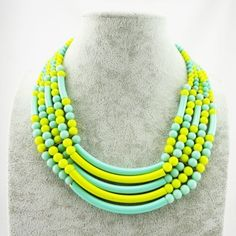 Western Style Beads Two-Tone Simple Design Short Necklace Wholesale Jewelry