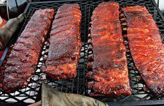"""Tuffy Stone's Competition Ribs George """"Tuffy"""" Stone of A Sharper Palate catering in Richmond, Virgina, developed this grill recipe for ribs using his 3-2-1 method: cooking for three hours unwrapped, two hours wrapped in foil, and another one unwrapped. Look how tender they look! #summer #barbecue"""