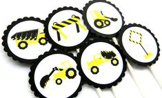 12 Construction Cupcake Toppers by thepartypenguin on Etsy, $10.00