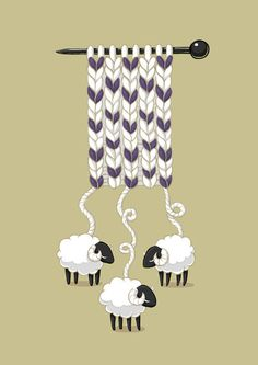 Ever wonder where all that wool for your knitting projects comes from? Thanks to this hilarious knitting joke, now you know! cute whimsical sheep knitting wool art illustration print for your craft room wall Knitting Humor, Knitting Projects, Knitting Patterns, Knitting Quotes, Crochet Humor, Knitting Wool, Vintage Knitting, Tricot D'art, Sheep Art