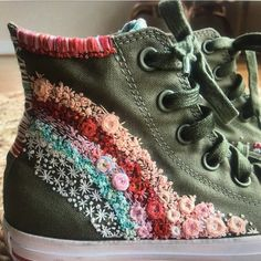 From NoNoNakedDenim on Etsy: Hand Embroidery & Vintage Goods Sock Shoes, Cute Shoes, Me Too Shoes, Shoe Boots, Floral Embroidery Patterns, Cute Embroidery, Diy Embroidery Shoes, Embroidery Sneakers, Estilo Hippy