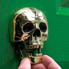 Polished Brass Skull Door Knocker