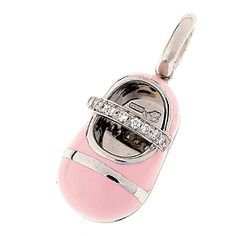 18K white gold all pink enamel shoe with diamond strap of .07 cts