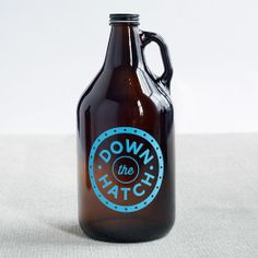 Down the Hatch Glass Beer Growler for homemade brew or transporting your favorite beverage from the brewery.