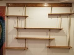 Hanging Rope Shelves, Wall Shelves, Floating Shelves, Shelving, Daughters Room, House Plans, Woodworking, Interior, Projects