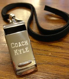 An engraved whistle makes a great gift for the coach of any sports team.