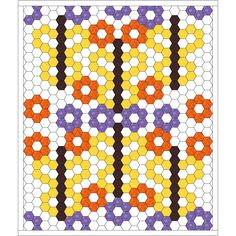 "Free hexagon quilt idea,""BUTTERFLY IN THE FLOWERS"",design by Dorte Rasmussen Denmark"