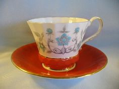 Aynsley England bone china hand painted cup and saucer turquoise/white w rust in Pottery & Glass | eBay