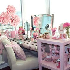bedroom, makeup, penteadeira, quarto, pretty, girly, feminino, flores, flowers