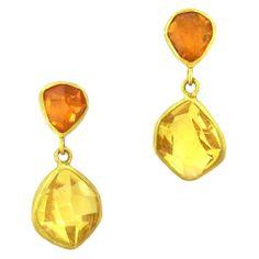 AARON FABER - Margoni: Heliodor and Garnet Drop Earrings