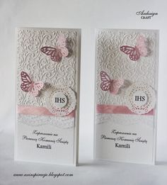 Communion Invitations, Christening Invitations, Baby Invitations, Butterfly Party Decorations, First Communion Cards, Wedding Scrapbook, Wedding Cards, Cardmaking, Birthday Cards