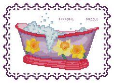 BathTub Collection Daffodil Dazzle - cross stitch pattern designed by Catia Dias. Cross Stitch Charts, Counted Cross Stitch Patterns, Cross Stitch Embroidery, Bathtubs, Needle And Thread, Daffodils, Cross Stitching, Pink Bathtub, Needlework