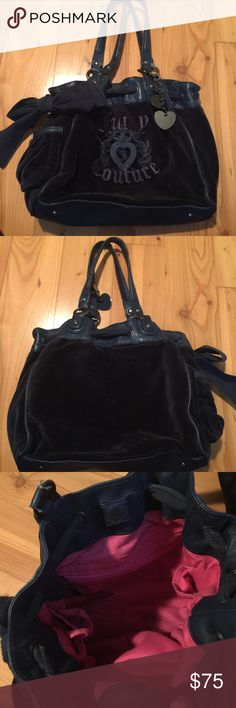 Juicy Couture navy bag Navy bag hot pink inside used but still in good  condition Juicy Couture Bags