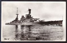 15 in battlecruiser HMS Renown as built in 1918, with flying off ramp for a Sopwith Camel over the guns of 'B' turret.  Much modernised, she served with distinction throughout WW2, after 1941 (when her sister HMS Repulse and the larger HMS Hood were both sunk) the only battlecruiser remaining in the Royal Navy's inventory.