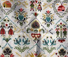cotton fabric, folk art print