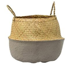 Bring Scandinavian style to the home with this Grey Seagrass basket from Bloomingville. Simple in design, this woven basket is neutral in colour with a solid grey base. Finished with two strong handle Rustic Baskets, Large Baskets, Wicker Baskets, Scandinavian Style, Baby Play Areas, Josie Loves, Storing Blankets, Belly Basket, Basket Decoration