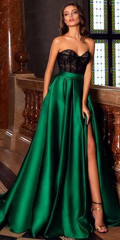 green party dress strapless evening dress lace long prom dress satin b – shuiruyan Source by Dresses Elegant, Sexy Dresses, Beautiful Dresses, Prom Dresses, Formal Dresses, Pretty Dresses, Classic Dresses, Satin Dresses, Summer Dresses