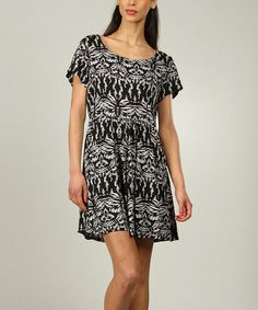 Loving this Black Tribal Scoop Neck Dress - Women on #zulily! #zulilyfinds