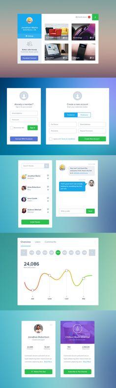 Social Kit. UI Elements. $5.00