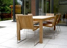 Contemporary garden furniture for modern outdoor spaces. We combine natural materials & modern fabrics to create furniture that is beautiful & comfortable. Clearance Outdoor Furniture, Indoor Outdoor Furniture, Outdoor Tables, Outdoor Dining, Teak Dining Chairs, Dining Tables, Contemporary Garden Furniture, Garden Table And Chairs, Concrete Furniture