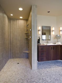 Doorless Shower Ideas Walk In Doorless Shower Ideas Walk In. Walk-in showers nowadays have been a trend and a lot of people have preferred them over the regular ones. Walk-in showers add to the ove… Bad Inspiration, Bathroom Inspiration, Showers Without Doors, Douche Design, Pebble Floor, Bathroom Renos, Bathroom Ideas, Master Bathroom, Shower Bathroom