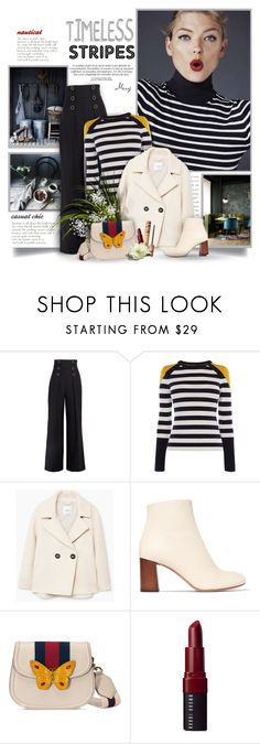 """""""Timeless Stripes"""" by thewondersoffashion ❤ liked on Polyvore featuring Karl Lagerfeld, Karen Millen, MANGO, Chloé, Gucci, Bobbi Brown Cosmetics and tarte"""