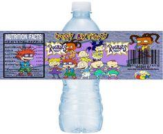 RUGRATS Water Bottle Labels instant download, DIY Printable Rugrats Party Water Bottle Label, Rugrats Water label, Rugrats Birthday Stickers