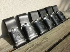 Leather Flask Holder with tooled initial. by celticcrowstudio, $55.00