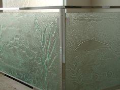 Cast glass with ocean details by Gomolka Design Studio