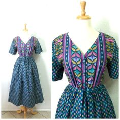 1950s Dress  Green Pink Floral Print Tulip by KMalinkaVintage