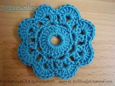 'Maybelle' Crochet Flower Free Pattern:  http://6ichthusfish.typepad.com/files/maybelle-crochet-flower-pattern-usa-terms.pdf