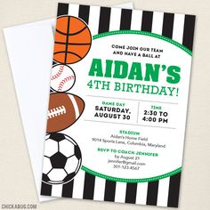 All-Star Party Invitations - This super cute sports party theme comes in your choice of color!