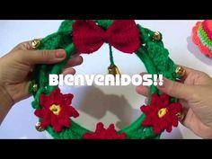 Corona navideña tejida a crochet - YouTube Pin Cushions, Crochet Earrings, Drop Earrings, Christmas Ornaments, Holiday Decor, How To Make, Youtube, Ideas, Crochet Baskets