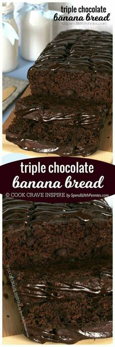You searched for Triple chocolate banana bread – Spend With Pennies If you love chocolate, you're definitely going to LOVE this Triple Chocolate Banana Bread! With a triple load of chocolate, it's deliciously decadent and easy to make! Delicious Desserts, Dessert Recipes, Yummy Food, Cupcake Cakes, Cupcakes, Chocolate Banana Bread, Chocolate Muffins, Chocolate Chocolate, Dessert Bread
