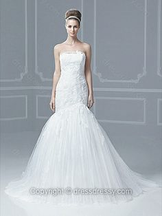 Trumpet/Mermaid Strapless Tulle Satin Sweep Train White Appliques Wedding Dresses -$228.49