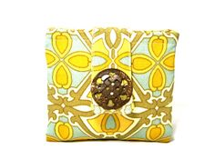 PoePoe's Large Teal and Gold Zipper Pouch Wallet by PoePoePurses, $28.00